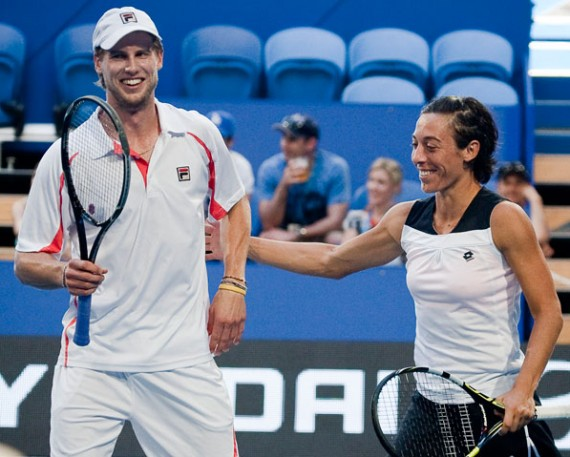 Andreas Seppi (left) and Francesca Schiavone, Hyundai Hopman Cup 2013, Perth Arena. RAW IMAGE