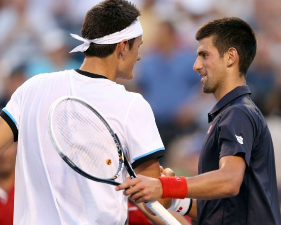 Bernard Tomic (left) and Novak Djokovic, 2012. GETTY IMAGES