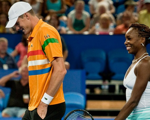 John Isner and Venus Williams, Hyundai Hopman Cup 2013, Perth Arena. RAW IMAGE