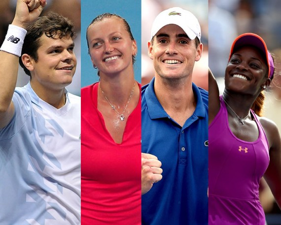 Milos Raonic, Petra Kvitova, John Isner and Sloane Stephens. GETTY IMAGES