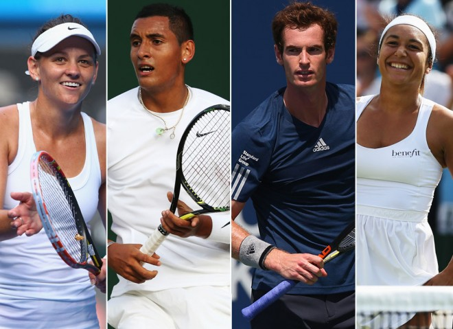 Casey Dellacqua, Nick Kyrgios, Andy Murray and Heather Watson. GETTY IMAGES