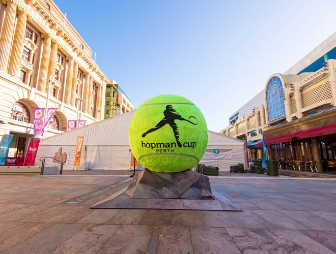 The giant Hopman Cup tennis ball in Perth's Forrest Chase; Alex Howell