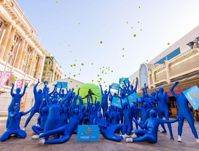 "The Hopman Cup ""morph men"" take over Perth's CBD; Alex Howell"