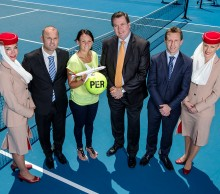 (L-R, starting second from left) Hopman Cup tournament director Paul Kilderry, Casey Dellacqua, Emirates WA regional manager Darren Tyrrell, Tennis Australia director events and facilities Tom Larner and Emirates Airline staff at the announcement of the Emirates Australian Open Series in Perth; Ross Swanborough
