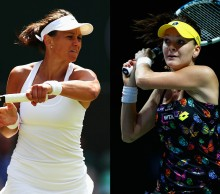 Casey Dellacqua (L) and Agnieszka Radwanska; Getty Images