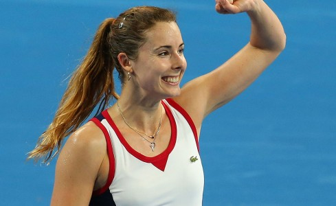 Alize Cornet in action at Hopman Cup 2014; Getty Images