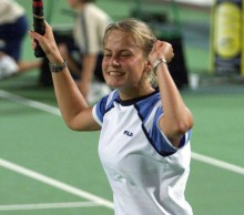 Jelena Dokic celebrates victory over Barbara Schett at the Hopman Cup in 2000; Getty Images