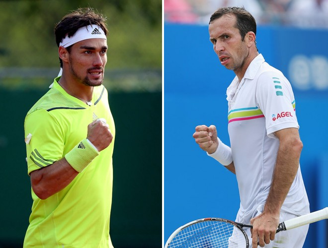 Fabio Fognini (L) and Radek Stepanek; Getty Images