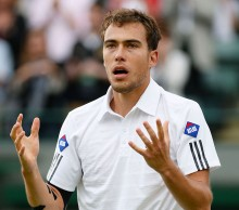 Jerzy Janowicz reacts after winning his Wimbledon 2013 quarterfinal match against fellow Polish player Lukasz Kubot; Getty Images