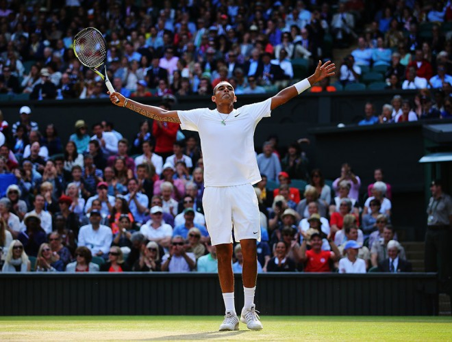 Nick Kyrgios celebrates his tweener during his fourth-round win over Rafael Nadal at Wimbledon 2014; Getty Images