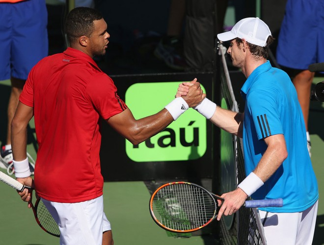 Andy Murray (R) shakes hands with Jo-Wilfried Tsonga after winning their match at the Miami Masters in 2014; Getty Images