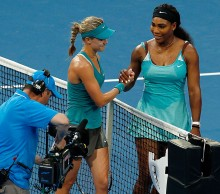 Eugenie Bouchard claims a big win over Serena Williams; Getty Images celebrates after defeating Serena Williams of the United States in the women's singles match during day three of the Hopman Cup at Perth Arena on January 6, 2015 in Perth, Australia.  (Photo by Will Russell/Getty Images)