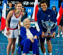 Lucy Hopman, who helped present the 2014 trophy to Team France,  is a much loved figure at the Hopman Cup; Getty Images