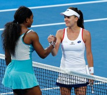 Serena Williams and Agnieszka Radwanska at the 2015 Hopman Cup; Getty Images