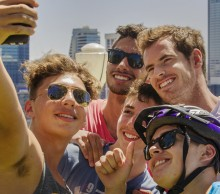 Andy Murray takes a selfie with the fans