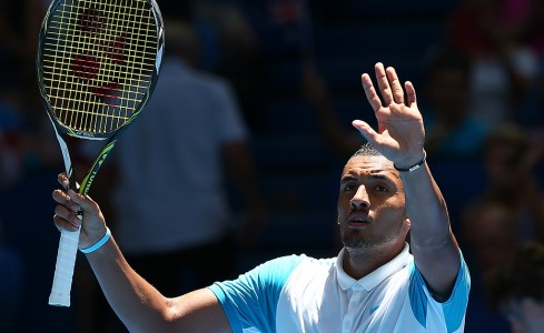 Nick Kyrgios completes his victory at Perth Arena; Getty Images