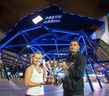 Daria Gavrilova and Nick Kyrgios pose with the Hopman Cup trophy; Getty Images