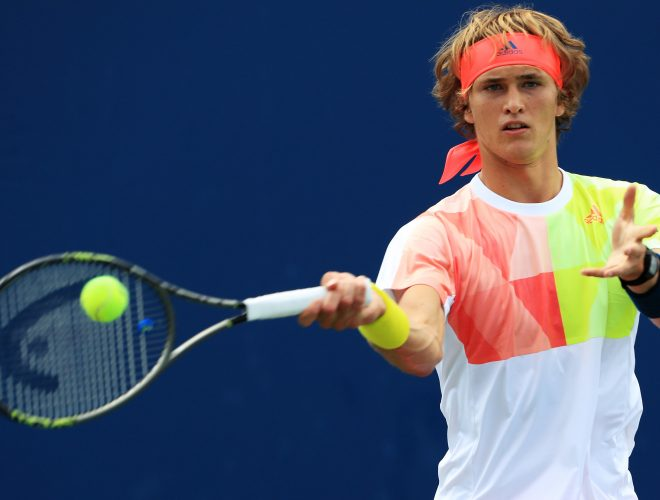 NEW YORK, NY - AUGUST 30:  Alexander Zverev of Germany returns a shot to Daniel Brands of Germany during his first round Men's Singles match on Day Two of the 2016 US Open at the USTA Billie Jean King National Tennis Center on August 30, 2016 in the Flushing neighborhood of the Queens borough of New York City.  (Photo by Michael Reaves/Getty Images)
