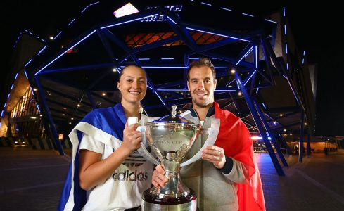 Kristina Mladenovic and Richard Gasquet, the 2017 champions, at Mastercard Hopman Cup; Getty Images