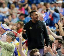 Nick Kyrgios celebrates at Mastercard Hopman Cup; Getty Images