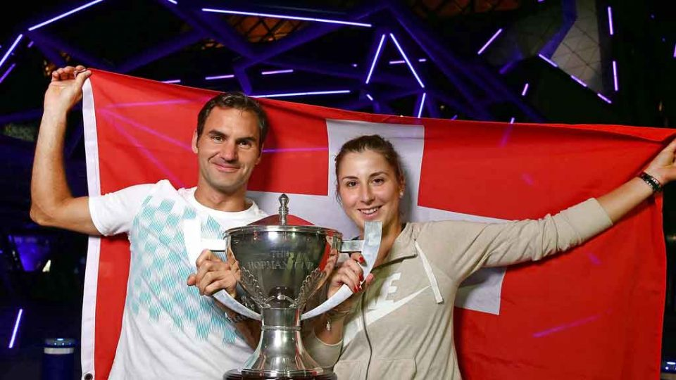 Roger Federer and Belinda Bencic celebrated their win outside Perth Arena; Getty Images