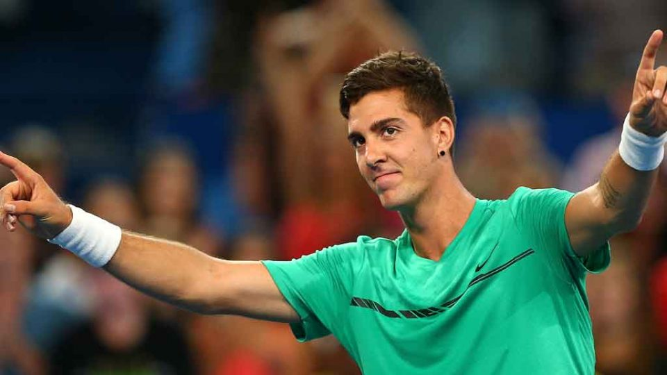 Thanasi Kokkinakis salutes the crowd following his stunning victory over Zverev: Getty Images