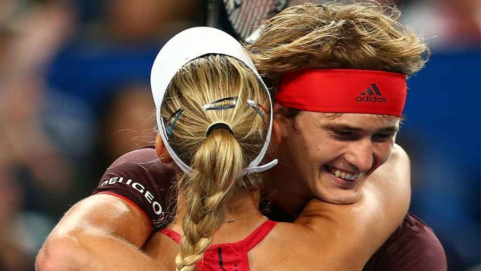 Kerber and Zverev embrace after securing their place in the Mastercard Hopman Cup 2018 final: Getty Images