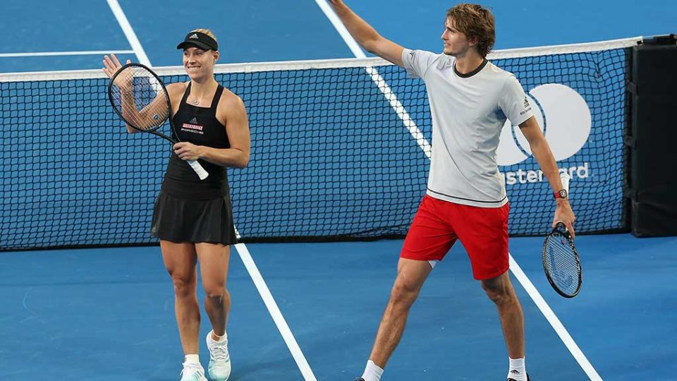 Angelique Kerber and Alexander Zverev celebrate victory for Germany; Getty Images