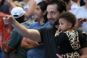 Serena Williams was cheered on by husband Alexis and daughter Olympia; Getty Images