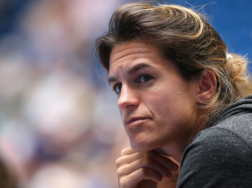 Amelie Mauresmo keeps a close watch on Lucas Pouille; Getty Images