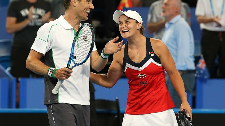 Ash Barty and Matt Ebden celebrate a hard-fought win; Getty Images