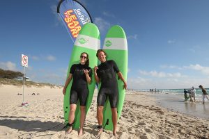 Alize Cornet and Lucas Pouiille hit the waves for a surfing lesson.