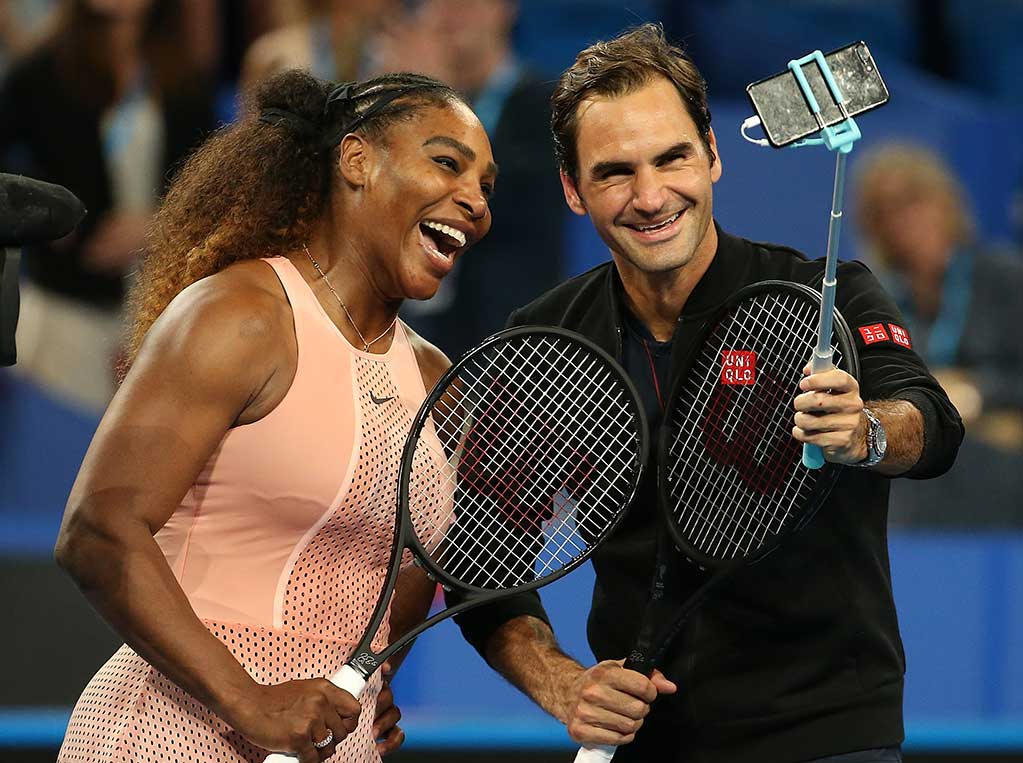 Serena Williams and Roger Federer finish a special match with a selfie; Getty Images