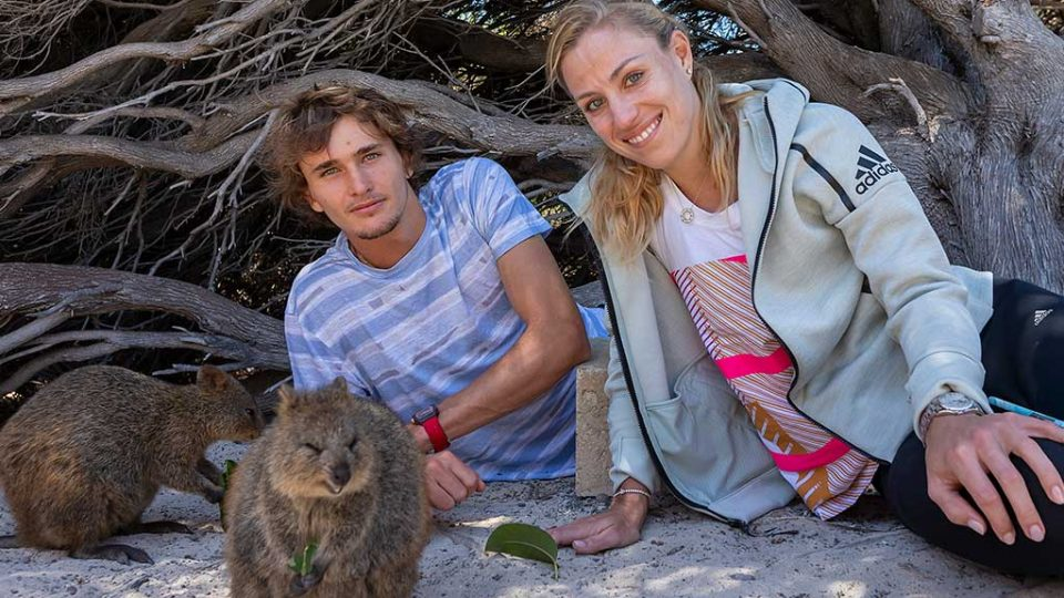 Alexander Zverev and Angelique Kerber on a trip to Rottnest Island; Getty Images