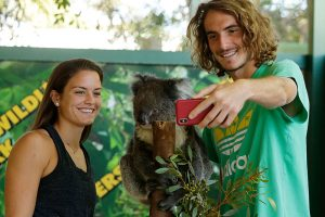 Maria Sakkari and Stefanos Tsitsipas meet the animals.